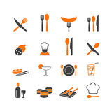 Restaurant menu kitchenware icons button logo Royalty Free Stock Photos