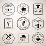 Restaurant menu labels black Royalty Free Stock Image