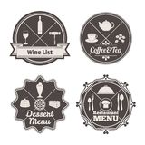 Restaurant menu labels Royalty Free Stock Images