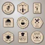 Restaurant menu labels Royalty Free Stock Image