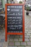 Restaurant menu in Lille. LILLE, FRANCE - CIRCA JUNE 2016: Restaurant menu blackboard Stock Photography