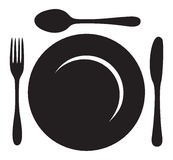 Restaurant Menu Logo. This image is a vector file representing a logo plate with fork, knife and spoon Stock Image