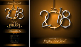 2018 Happy New Year Background for your Seasonal Flyers and Gree. 2018 Restaurant menu for New Year Dinner Stock Image