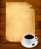 Restaurant menu on the old paper and coffee. Royalty Free Stock Photos