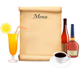 Restaurant menu on the old scroll of paper Stock Photography