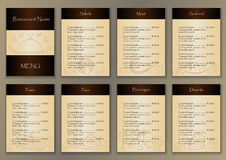 Restaurant menu with 7 pages and hand drawn doodle elements. Vector illustration for backgrounds, web design, design elements, textile prints, covers stock illustration