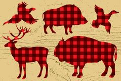 Restaurant menu with pheasant, boar, bison, deer, duck Royalty Free Stock Image