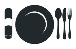 Restaurant Menu Plate. This image is a vector file representing a restaurant logo, plate with fork, knife and spoon Stock Image