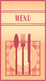Restaurant menu with plate, spoon, fork and knife Royalty Free Stock Image