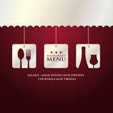 Restaurant menu presentation. In red background Royalty Free Stock Images