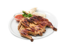 The restaurant menu  The restaurant menu, chicken on the grill with sauce and pita. The restaurant menu the   The restaurant menu, chicken on the grill with Royalty Free Stock Photography