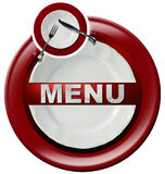 Restaurant Menu - Round Red Icon Stock Images