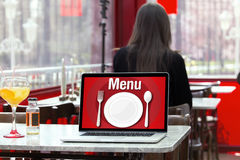 Restaurant Menu in the screen of laptop Computer Royalty Free Stock Photography