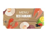 Restaurant Menu with Seafood of Premium Quality. Vector colorful illustration of isolated wooden cutting board having fish and other products Royalty Free Stock Photos