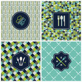 Restaurant Menu Seamless Pattern. Vector Set Stock Image