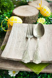 Restaurant menu series. Easter place setting. Stock Photography