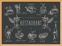 Restaurant menu with sketches of different dishes vector illustration