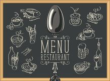 Restaurant menu with sketches of different dishes royalty free illustration