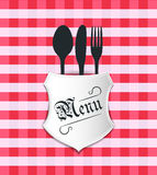 Restaurant Menu Table Sheet. This image is a vector file representing a restaurant table sheet, plate with fork, knife and spoon Stock Images