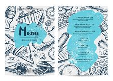 Restaurant menu template with food sketches. Fast fooddesign with hand drawn pizza, hot dog, chicken, drink pencil doodles. Cafe price catalog, junk food card Royalty Free Stock Photo