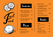 Restaurant menu template with food sketches. Fast food vector design with hand drawn pizza, hot dog, chicken, drink pencil doodles. Cafe price catalog, junk royalty free illustration