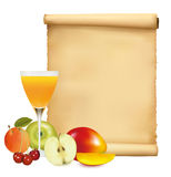 Restaurant menu template with fresh fruits. Royalty Free Stock Photos