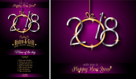 Restaurant menu template for 2018 New Year Dinners and backgrou. Nd for your Seasonal Flyers and Christmas Greetings card royalty free illustration