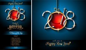 2018 Happy New Year Background for your Seasonal Flyers and Gree. Restaurant menu template for 2018  New Year Dinners and invitations or Chrstmas Seasonal Cards Royalty Free Stock Images