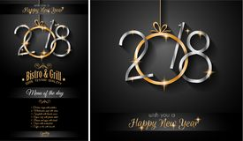 Restaurant menu template for 2018 New Year Dinners and invitati. Ons or Chrstmas Seasonal Cards vector illustration
