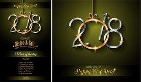 Restaurant menu template for 2018 New Year Dinners. And background for your Seasonal Flyers vector illustration