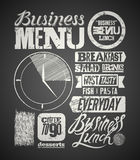Restaurant menu typographic design on chalkboard. Vintage business lunch poster. Vector illustration. Stock Image