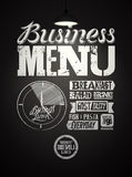 Restaurant menu typographic design on chalkboard. Vintage business lunch poster. Vector illustration. Stock Images