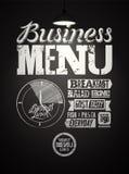 Restaurant menu typographic design on chalkboard. Vintage business lunch poster. Vector illustration. Restaurant menu typographic design on chalkboard. Vintage Stock Images