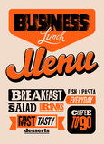 Restaurant menu typographic design. Vintage business lunch poster. Vector illustration. Royalty Free Stock Image