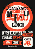 Restaurant menu typographic design. Vintage business lunch poster. Vector illustration. Royalty Free Stock Photo