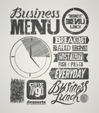 Restaurant menu typographic grunge design. Vintage business lunch poster. Vector illustration. Royalty Free Stock Photography