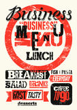 Restaurant menu typographic grunge design. Vintage business lunch poster. Vector illustration. Royalty Free Stock Image