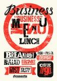 Restaurant menu typographic grunge design. Vintage business lunch poster. Vector illustration. stock illustration