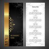 Restaurant menu vector design template - luxury vintage style. Luxury black and gold vintage template for Stock Photo