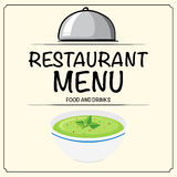 Restaurant menu with vegetable soup in bowl Royalty Free Stock Photo