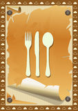 Restaurant menu, vintage torn paper Stock Photo