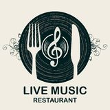 Restaurant menu with vinyl record and cutlery royalty free illustration