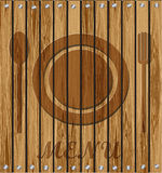 Restaurant menu on a wooden background Stock Photos