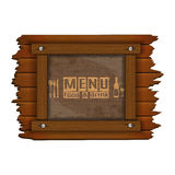 Restaurant menu wooden frame and glass uno. Cover Template restaurant menu background wooden frame and glass plate with food and drink Stock Image
