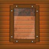 Restaurant menu wooden frame and glass vertically. Cover Template restaurant menu background wooden frame and glass plate with food and drink Stock Photos