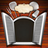 Restaurant Menu on Wooden White Window Royalty Free Stock Photo