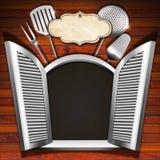 Restaurant Menu on Wooden White Window Royalty Free Stock Photo