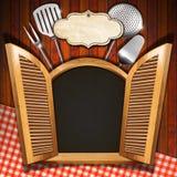 Restaurant Menu on Wooden Window Stock Photos