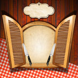 Restaurant Menu on Wooden Window Royalty Free Stock Images