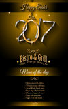 Restaurant Meny template for 2017 Easter celebration with a Golden egg Stock Photo